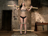 Busty brunette babe with pierced nipples talking about her first experience with bondage and punishment