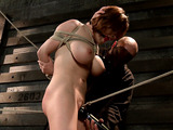 Busty redhead with hairy snatch gets gagged and tortured with ropes and vibros