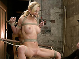 Busty blondie gets her cunt ripped with bdsm tools and strap-on when bound and suspended