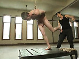 Blonde lad with a beard gets roped and flogged before his asshole got rimmed