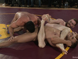 Awesome gay foursome fucking scene on the ring in public after a wrestling match