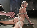 Ponytailed blonde MILF asked a professional bdsm master to satisfy her painfully when bound