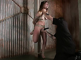 Tattooed teen bitch with big juggs gets tortured with ropes and pumps