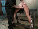 Boobilicious brunette babe in plaits squirting like a waterfall when tortured with clamps and vibro when bound