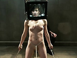 Skinny brunette bitch crying when hogtied and tortured with glass head box and strangling