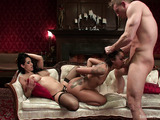 Tattooed ebony agrees for bondage and rough sex with a married couple