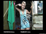 Blonde tattooed bitch in a funny blue dress talking about her dark desires