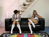 Two naughty school girls start licking each other when felt bored