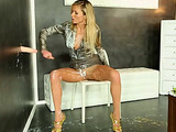 Blonde bitch rips her pantyhose to allow sticky slime into her hungry snatch