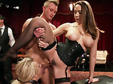Some submitted girls in nylons and corsets getting used rudely at the private bdsm party
