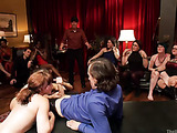 Two brunette bitches with hairy snatches in stockings pleasing a crowd of people at the party
