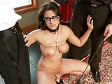 Curvy brunette with big tits in glasses and shinju pleasing two gentlemen