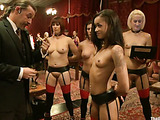 Cjicks of all skin colors in red and black stockings getting tortured and banged roughly at the party
