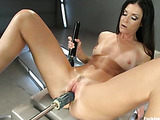 Fast automated fuck machines pound and drill chick with vibrator to orgasm