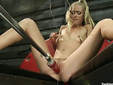 Horny naughty chick gets her itching cunt hammered badly by sex machines