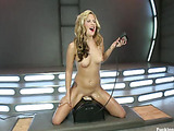 Hot girl with sweet booty fucks fast automated cock machines to orgasm