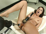Hot and sex babe enjoys hard and fast sex as she fucks machine dick to orgasm