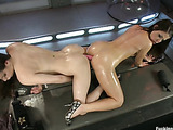 Two horny girls pleasure themselves with vibrators and hardcore fast cock machines