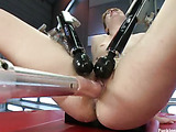 Sexy curvy babe fucks machine to ecstasy as cock machines drill her fast and hard