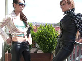 Red chick with a plait in lather pants seducing her brunette BFF to lesbian fondling