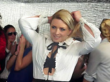 Blonde and brunette chicks in office suits wrestling in the pool with lubricant