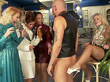 Horny smart chicks jeering badly a bald guy in a dog leash at the bitch party