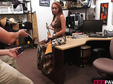 Horny dude shooing on camera busty swarthy bombshell posing with a shotgun in a nice dress and then naked