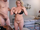 Chubby blonde MILF with big juggs riding a stiff rod passionately