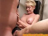 Seductive blonde mature housewife enjoys fucking with a strange man