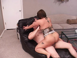 Chubby brunette housewife spreads her legs for a bald dude's dick