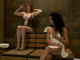 Huge boobs redhead pleasures brunette ts in a sauna