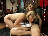 Santa's New Year's party ends with sex between two blondes
