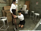 TS Foxxy and her colleague Beretta work in the warehouse and they are turned on nylon fetish
