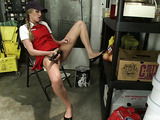 Sexy blond catering courier got served by sexy tranny brunette