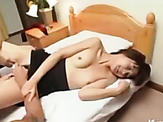 blindfolded asian mom enjoys