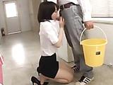 Arousing Asian teacher teasing her male colleague in the corridor