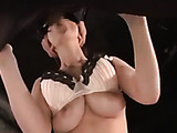 Boobilicious Japanese housewife in sexy lingerie with her tits out gagging with a meaty boner