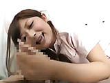 Filthy Japanese nurse in a pink costume trying hard while giving a handjob