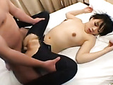 Nasty Japanese slut in jeans gets drilled from behind with her mouth busy with another cock