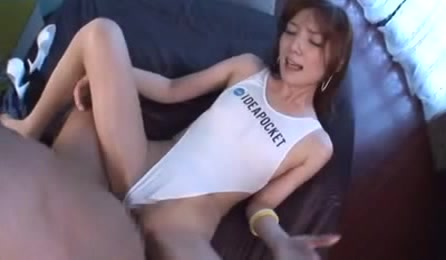 Hot Japanese doll in a white swimsuit gets her shaved pussy drilled