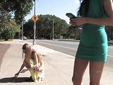 18 yo Georgia Jones upskirt in public