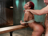 Tattooed ebony chick with red hair gets drilled hard in bondage by a bald bdsm master