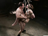Brunette inked chick gets tortured with pins and clamps while being bound and banged hard