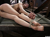 Inked brunette cutie with hairy snatch gets bound and assbanged by kinky master in boots