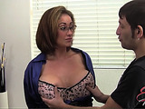 Horny dude dressing busty brunette MILF in a blue blouse into pink feathers