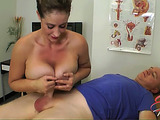 Slutty nurse with big boobs giving an awesome titfuck to her patient in a blue T-shirt