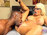 Busty blonde coed in a rose lingerie and glasses fucking with a big black lad