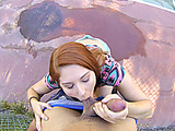 Curvy ginger freshie sucking a dick and gets screwed outdoors and then inside for good money