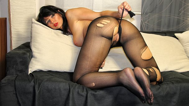 Pantyhose nylon stocking rip nude