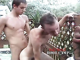 Young gay makes his boyfriend bend over in a jacuzzi then he fucks him from behind before she drills his dick in his ass in different positions while letting him masturbate.